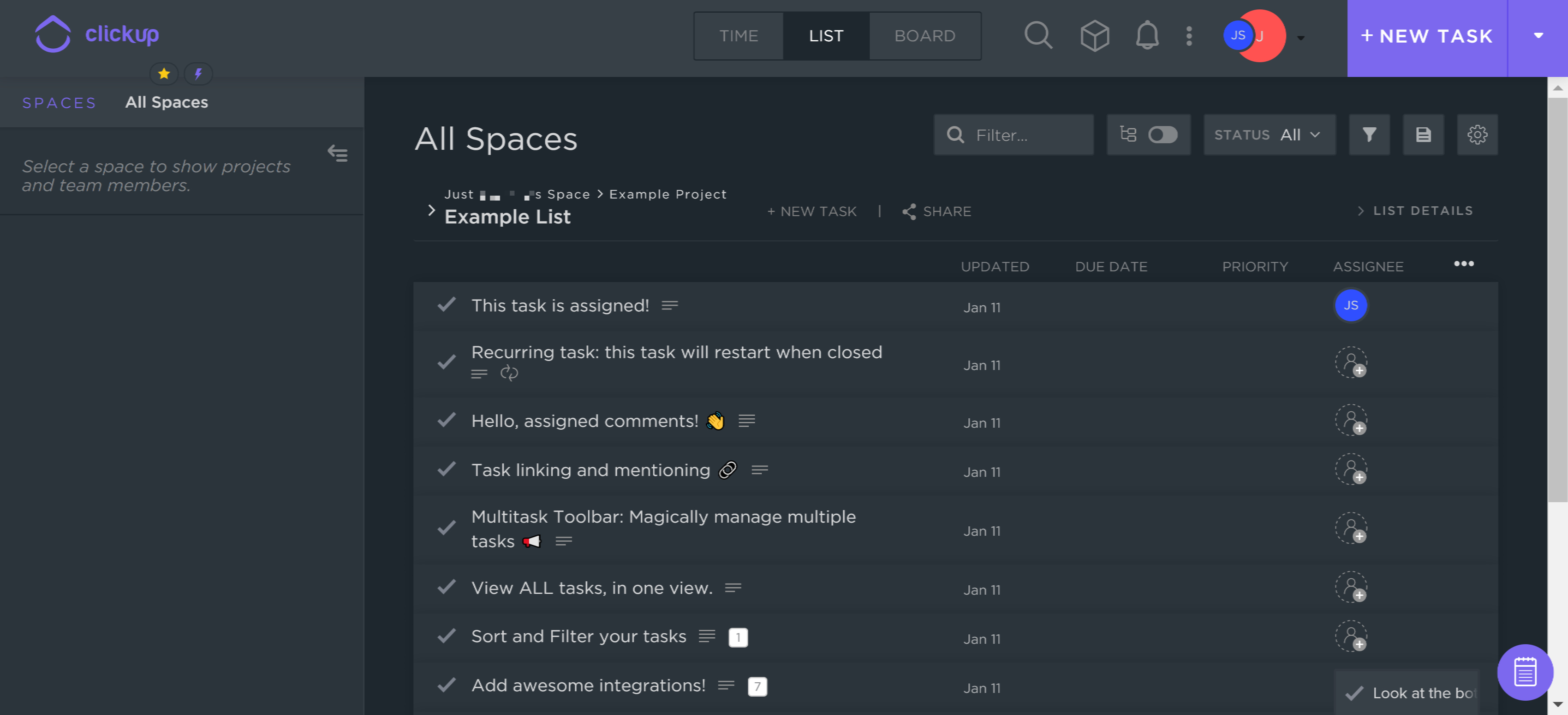 All The Tasks see all tasks assigned to a user across all boards and