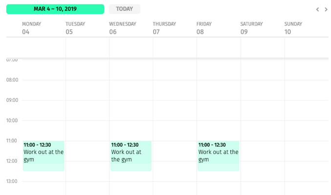 weekly calendar with a routine